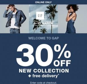 30% de réduction sur la nouvelle collection Gap