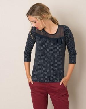 Tee-shirt bleu marine à pois Louisa – 123