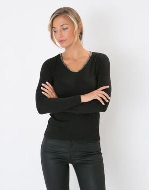 Tee-shirt noir biais imprimé Loupe – 123
