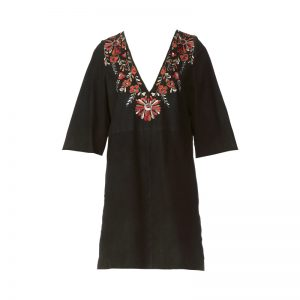 Robe suède détail fleurs brodées Preston – Antik Batik