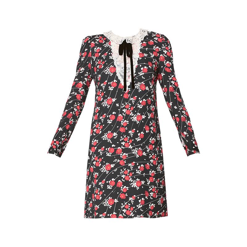 69d96d9ce Robe noire imprimé fleurs dentelle décolleté noeud velours noire col ...