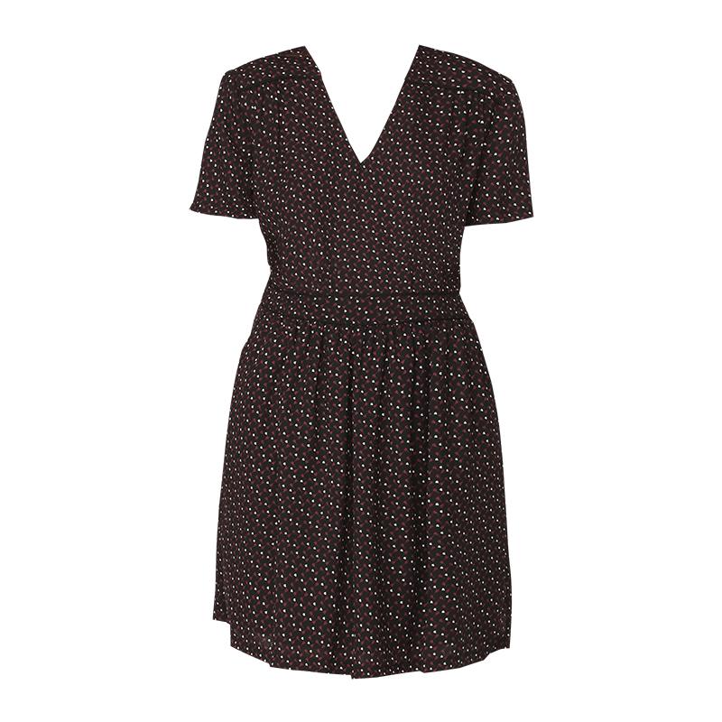 e144df7db6cf4 Robe fluide noire imprimé motif bordeaux blanc Haiti - Mamouchka
