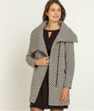 Manteau femme imprimé et large col – Grain de Malice