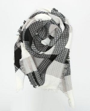 Foulard à carreaux Femme -30% – Couleur blanc cassé – Taille 00 -PIMKIE- LA MODE FEMME