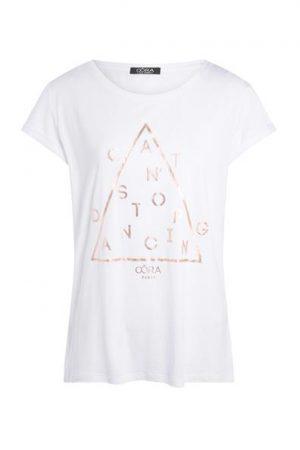 T-shirt Oora texte doré Blanc Coton – Femme Taille 0 – Cache Cache Blanc Oora