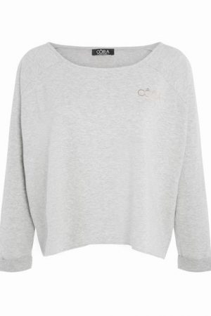 Sweat cropped Oora texte dos Gris Coton – Femme Taille 0 – Cache Cache Gris Oora