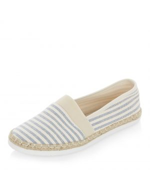 Espadrilles Wide Fit bleues à rayures – New Look