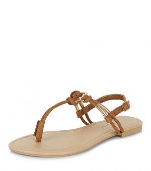 Sandales en similicuir fauve nouées – New Look