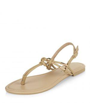 Sandales en similicuir taupe à nœuds – New Look