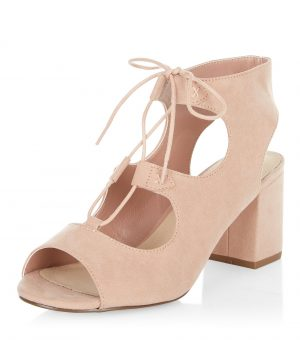 Sandales ghillie taupe confortables à talons bloc – New Look