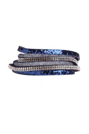 Bracelet multi rangs brillant Bleu Plastique – Femme Taille TU – Bréal