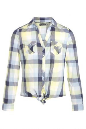 Chemise nouée à carreaux Bleu Coton – Femme Taille 38 – Bréal