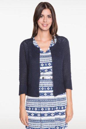 Gilet esprit veste en tricot Bleu Acrylique – Femme Taille 2 – Bréal
