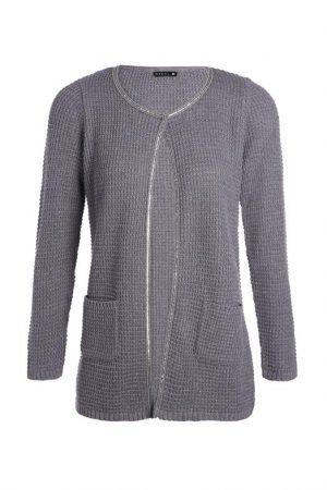 Gilet ouvert poches fantaisies Gris Fil metallise – Femme Taille 2 – Bréal