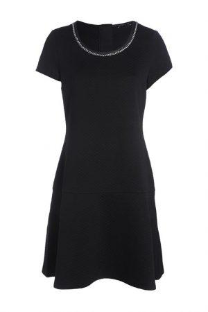 Robe gaufrée chainette col Noir Synthetique (polyurethane) – Femme Taille 38 – Bréal