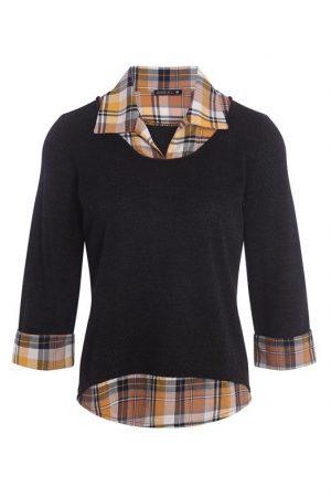 T-shirt façon 2 en 1 Noir Polyester – Femme Taille 1 – Bréal