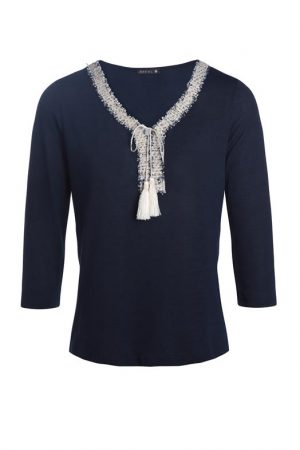 T-shirt galons et pompons Bleu Polyester – Femme Taille 2 – Bréal