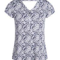 T-shirt imprimé col V zippé Bleu Elasthanne - Femme Taille 1 - Bréal