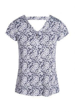T-shirt imprimé col V zippé Bleu Elasthanne – Femme Taille 1 – Bréal