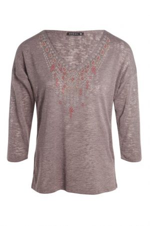 T-shirt manches 3/4 Marron Polyester – Femme Taille 1 – Bréal