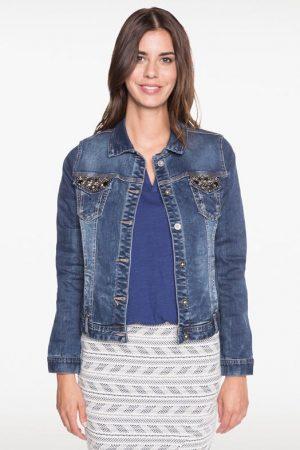 Veste en jean strass et studs poches Bleu Coton – Femme Taille 36 – Bréal