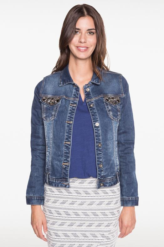 32c1d30169b99e Veste en jean strass et studs poches Bleu Coton - Femme Taille 36 ...