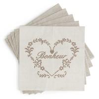 Paquet de 20 serviettes en papier beiges 17 x 17 cm BONHEUR Maisons du monde