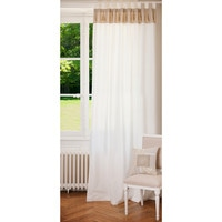 Rideau double à passants en coton blanc et beige 150 x 250 cm NAPOLI Maisons du monde