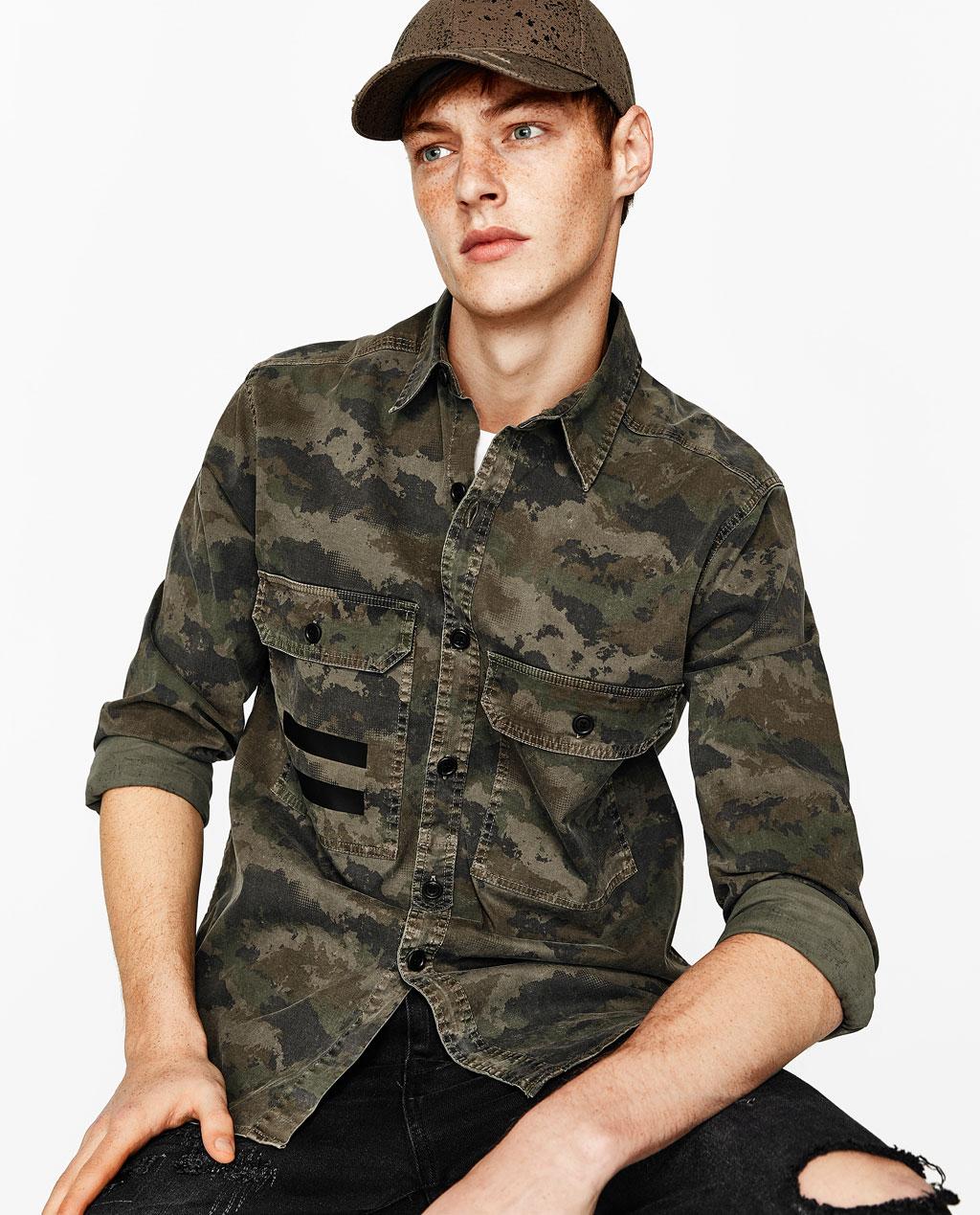 chemise camouflage poches nouveaut s homme zara france. Black Bedroom Furniture Sets. Home Design Ideas
