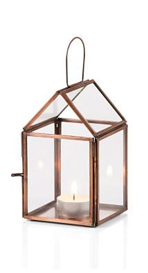 Lanterne en forme de maison, verre/métal Esprit