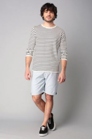 Pull blanc marinière navy – Tom Tailor