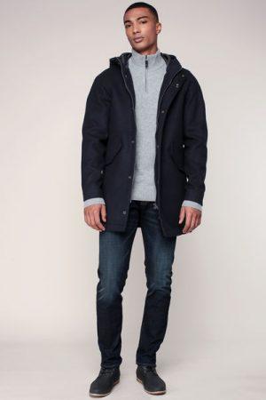 Manteau marine à capuche étiquette logo brodé – Scotch & soda