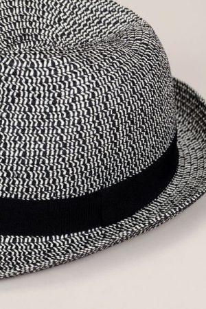 Chapeau tressé noir/blanc bande noir – Monoprix Femme