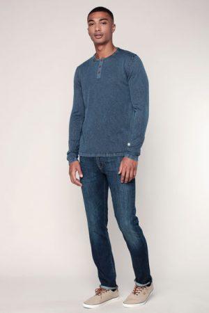 Pull coton bleu fumé imprimé logo encolure boutonnée – Jack & Jones