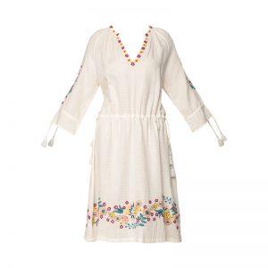 Robe coton texturé crème broderie fleurs relief Alyssa – Antik Batik