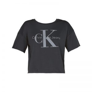 T-shirt cropped gris imprimé logo – Calvin Klein