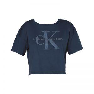 T-shirt cropped marine imprimé logo – Calvin Klein