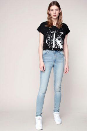 T-shirt noir perforé imprimé message blanc tacheté – Calvin Klein