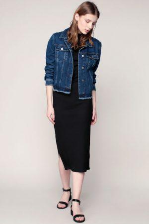 Veste denim bleu foncé finitions effilochées – Calvin Klein