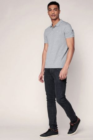 Polo gris mélangé logo brodé Perfect – Jack & Jones