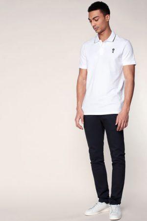 Polo blanc col contrasté noir et logo brodé Costone – Jack & Jones