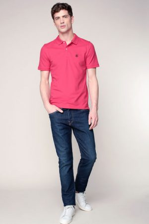 Polo rouge rosé blason brodé Haro – Selected Homme