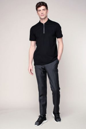 Polo noir col zippé Zip polo – Jack & Jones