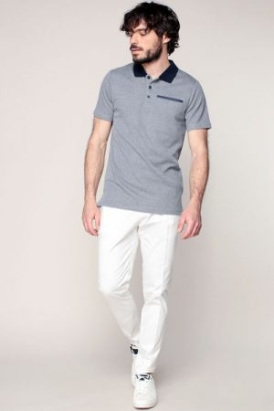 Polo gris chiné col et poche contrastés marine Chris – Jack & Jones