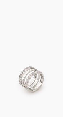 Bague en métal sertie de zircones  Esprit