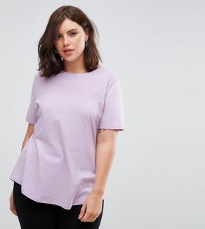 ASOS CURVE – T-shirt à empiècement côtelé contrastant – Violet