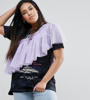 ASOS CURVE – T-shirt à grand volant et imprimé groupe de musique délavé – Multi