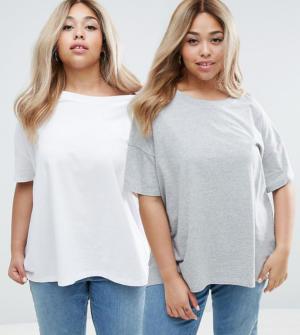 ASOS Curve – Lot de 2 t-shirts super oversize – Multi