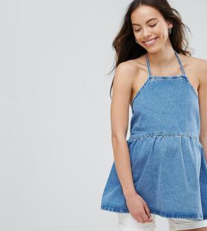 ASOS MATERNITY – Top en jean à encolure carrée avec ourlet volanté – Bleu délavé moy ...