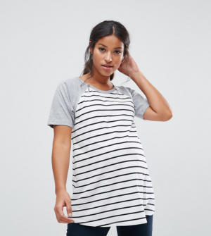ASOS Maternity – T-shirt d'allaitement à manches raglan et rayures avec fermeture éc ...
